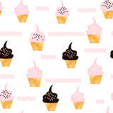 Seamless pattern with cute cupcakes. Modern creative background with cupcake and hand drawn elements Royalty Free Stock Photo