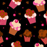 Seamless Pattern with Cute Cupcakes, Vector Royalty Free Stock Image