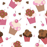 Seamless Pattern with Cute Cupcakes, Vector. Illustration EPS10 Stock Photo