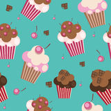 Seamless Pattern with Cute Cupcakes, Vector. Illustration EPS10r Stock Photo