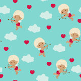 Seamless pattern with a cute cupid Royalty Free Stock Photography