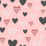 Seamless pattern with cute decorated hearts. Sketch, doodle, drawn by hand. Vector illustration stock illustration