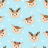 Seamless pattern cute deer with snow vector illustration