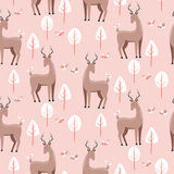 Seamless pattern with cute deers Royalty Free Stock Photography
