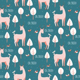 Seamless pattern with cute deers Stock Photos