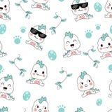 Seamless pattern cute dino cartoons vector illustration
