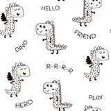 Seamless pattern with cute dino in scandinavian style. Creative  childish background for fabric, textile. Royalty Free Stock Image