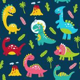 Seamless pattern with cute dinosaurs for children print.