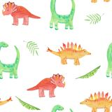Seamless pattern with cute dinosaurs - diplodocus, triceps and tropical leaves. Watercolor illustration for prints, templates,
