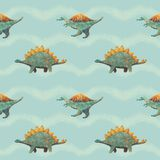 Seamless Pattern with Cute Dinosaurs blue and orange royalty free stock photography