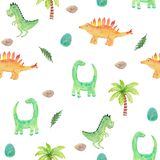 Seamless pattern with cute dinosaurs and tropical. watercolor illustration with diplodocus, brontosaurus and tyrannosaurus for