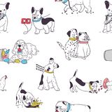 Seamless pattern with cute dogs demonstrating bad habits and behavior. Backdrop with naughty domestic animals. Mischievous pets. Colorful hand drawn vector royalty free illustration