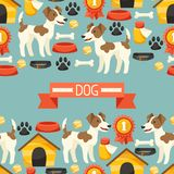 Seamless pattern with cute dogs, icons and objects Stock Photo