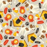 Seamless pattern with cute dogs, icons and objects Royalty Free Stock Images