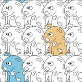 Seamless pattern with cute dogs. Vector illustration with funny puppies Royalty Free Stock Photo