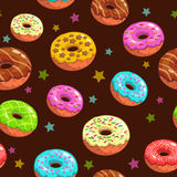 Seamless pattern with cute donuts and stars Stock Photo