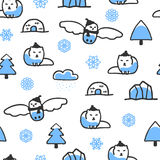 Seamless pattern with cute doodle arctic fox and snowy owl Stock Photos