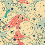 Seamless pattern with cute doodle astronauts, planets, rockets and stars. On scribble background, retro style, vector illustration Stock Photos