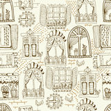 Seamless pattern with cute doodle cartoon windows Royalty Free Stock Photography