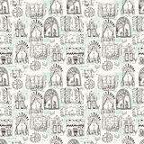 Seamless pattern with cute doodle cartoon windows Stock Photos