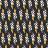 Seamless pattern with cute doodle cat ice cream. Royalty Free Stock Photo