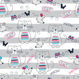 Seamless pattern with cute doodle cats and mice Stock Photos