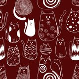 Seamless pattern with cute doodle cats. Outline animal art vector illustration