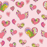 Seamless pattern of cute doodle hearts Royalty Free Stock Image