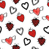 Seamless pattern with cute doodle hearts on white. Stock Photo