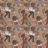 Seamless pattern with cute doodle musicians in 1920's style Stock Images