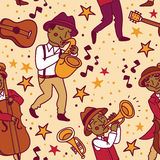 Seamless pattern with cute doodle musicians in 1920's style Royalty Free Stock Photos