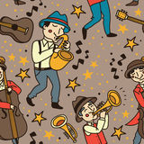 Seamless pattern with cute doodle musicians in 1920's style Royalty Free Stock Image