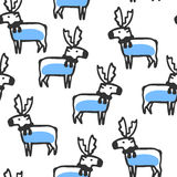 Seamless pattern with cute doodle reindeer Stock Photo