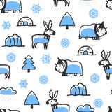 Seamless pattern with cute doodle reindeer and musk-ox Stock Photography