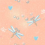 Seamless pattern of cute dragonfly and dandelion seeds. Seamless pattern of dragonfly and dandelion seeds Stock Image
