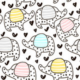 Seamless pattern with cute elephant and hearts in scandinavian style. Creative  childish background for fabric, textile. Stock Photography