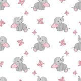 Seamless pattern with cute elephants and butterflies. Vector background for kids design. Baby print Stock Photos