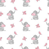 Seamless pattern with cute elephants and butterflies Royalty Free Stock Photography