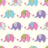 Seamless pattern with cute elephants Royalty Free Stock Photo