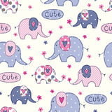 Seamless pattern with cute elephants. Seamless pattern with cute colorful elephants, flowers and lettering royalty free illustration