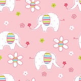 Seamless pattern with cute elephants and flowers. Wrapping paper vector illustration royalty free illustration