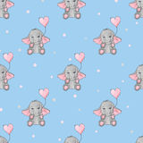Seamless pattern with cute elephants and heart balloons. Royalty Free Stock Photos