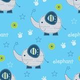 Seamless pattern with cute elephants Stock Image