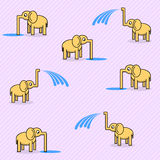 Seamless pattern with cute elephants. Vector background Stock Images