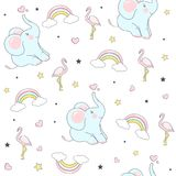 Seamless pattern with cute elephants. Vector  Illustration Stock Photos