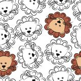 Seamless pattern with cute face lions. Seamless pattern with funny face lions Stock Illustration