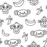 Seamless pattern with cute faces of monkeys and bananas. Kids background. Textures for wallpaper, fills, web page background royalty free illustration