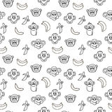 Seamless pattern with cute faces of monkeys and bananas. Kids background. Royalty Free Stock Photography