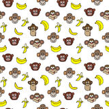 Seamless pattern with cute faces of monkeys and bananas. Kids background. Stock Image