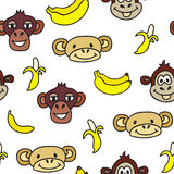 Seamless pattern with cute faces of monkeys and bananas. Kids background. Stock Images